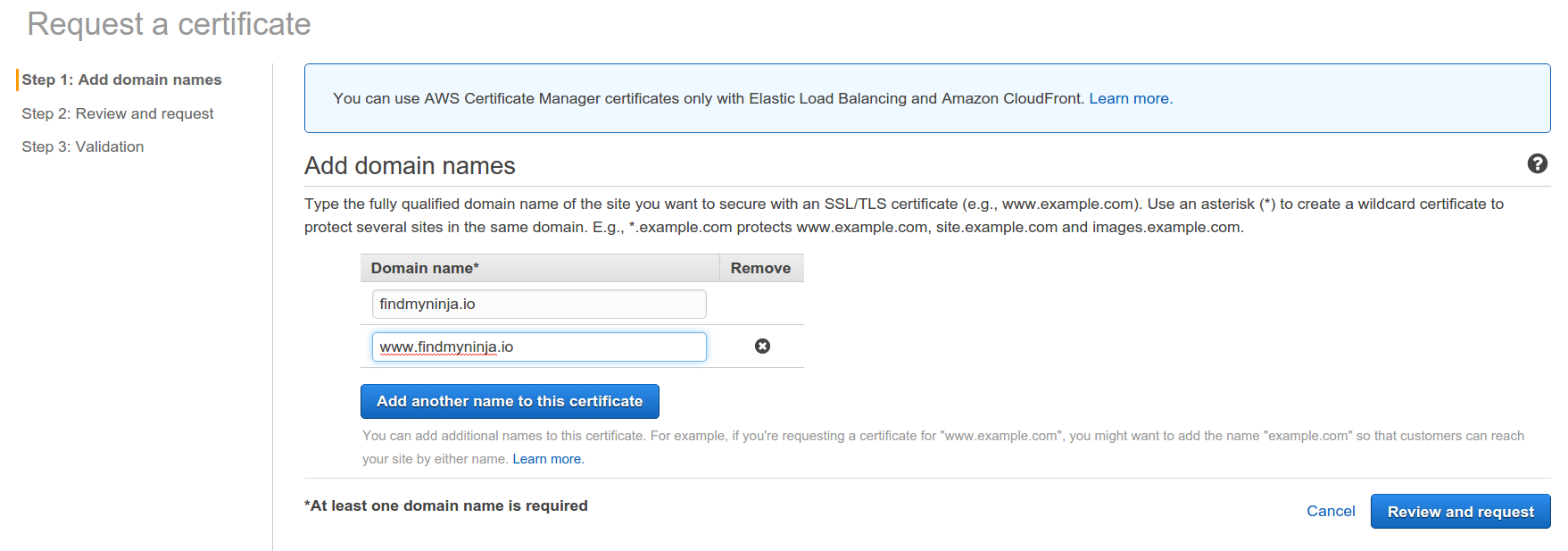 Amazon Certificate Manager Screenshot