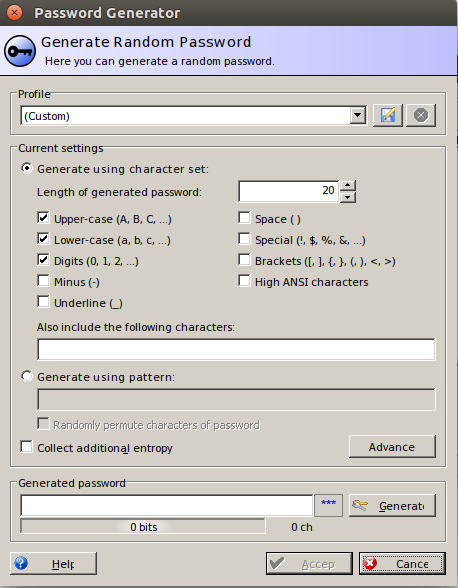 KeePass Generate Random Password