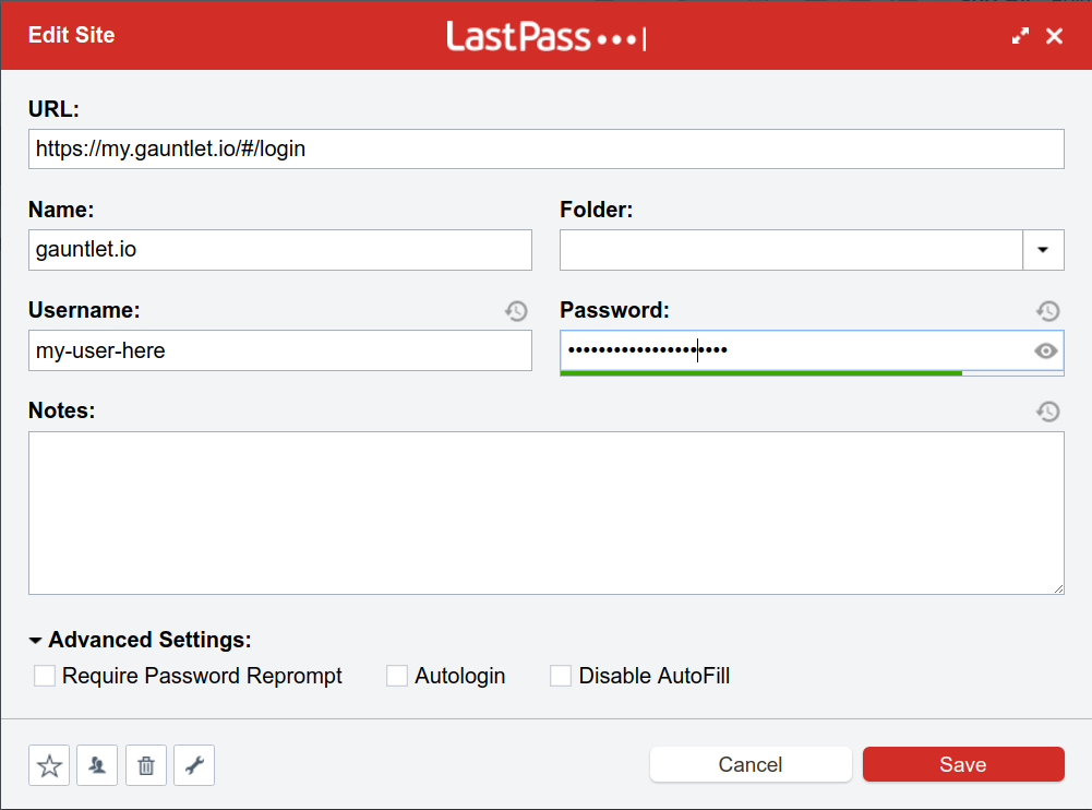 LastPass Usage - Manage Credentials